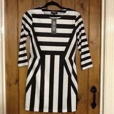 3/4 Sleeve Stretch, Bodycon Striped Petite Dresses for Women
