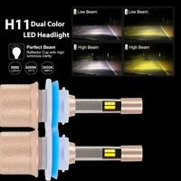 H11 H8 H9 Dual Color 80W 11000LM LED Headlight Fog Light Kit 6000K/3000K Bulbs