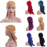 Fashion Men Women Velvet Breathable Bandana Hat Turban Caps Doo Durag Headwear