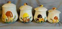 4 Arnel's Merry Mushroom Pottery Staple Cookie Canister Set Signed Handmade