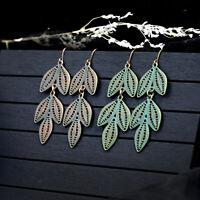 Women Vintage Boho Leaf Long Metal Drop Dangle Hook Bohemia Earrings Jewelry