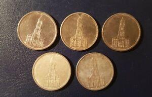 5 x 5 Reichsmark 1935,  Garnisonskirche (2xA, E, G, J), Silber -  (LOT 10)