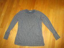 Ladies Athleta Charcoal Gray Jersey Knit Thumb Loops Long Sleeve Top Shirt Sz L