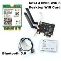 PC PCI Wireless Card wifi 6 Dual Band MU-MIMO Bluetooth 5.0 Intel AX200 Adapter