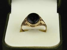 Onyx Signet Ring 9ct Gold Gents Size V 1/2 375 2.9g Fe87