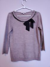 Ann Taylor Loft Womens Brown Blouse Size Small Ringtones bow 3/4 Sleeve Sweater