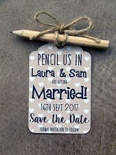 10 Personalised Pencil Us In Save The Date Cards Pencils Envelopes & Twine Beige