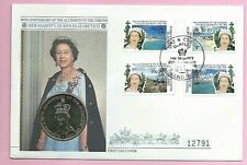 TURKS & CAICOS 1992 FDC - 5 Crowns Coin Cover - ANNIVERSARY OF THE ACCESSION (B)