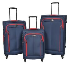 Durable 4 Wheel Suitcase Soft Luggage BLUE Lightweight TSA Lock Expandable Bag