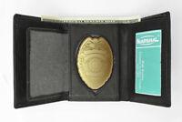 Concealed Carry Badge Holder Leather Wallet Oval Shield Holder US SELLER