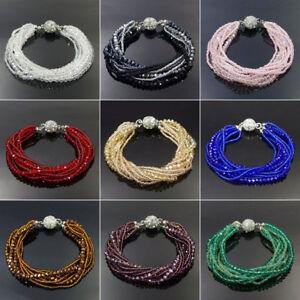 Handmade Multilayer Shining Glass Crystal Beads Bracelet Magnetic Connector