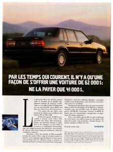 1992 VOLVO 960 Vintage Original Print AD - Black car photo French Canada Sedan
