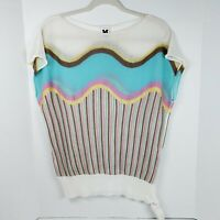 M Missoni Sleeveless Knit Lightweight Top Womens Size 8 Wave Stripe Teal Pink
