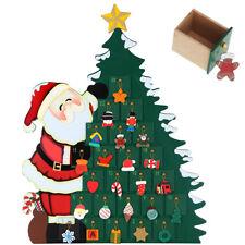 Calendario Avvento Babbo Natale con Albero in Legno 24 Cassetti e Decorazioni