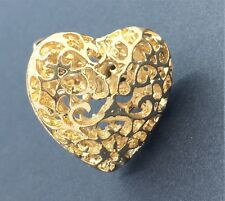 Gold plated Heart Shaped Women Ladies Fashion Vintage Style Stylish Finger Ring