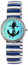 Donna Kelly Damen Armbanduhr Metallzugband Zugband Uhr Blau Anker Meer Anchor