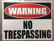 "2x No Trespassing Warning sign water resistant self adhesive stickers 11"" x 8.5"""