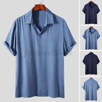 Mens Short Sleeve Casual Work Dress Shirts Formal Party Henley Tops Tee Shirt US