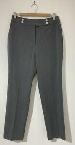 Portmans Size 10 Pants Grey Subtle Herringbone Pockets High Rise Work Office NEW