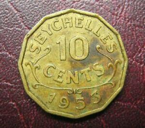 /Coin Seychelles 1953 10 cents, British