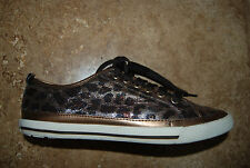 Coppery Brown & Black GUESS Glittery Leopard Print Laced Fashion Sneakers 7.5