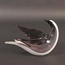 Aureliano Toso Murano Glas Dino Martens Vogel bianco nero defekt