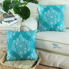 Set of 2 Cushion Covers Pillows Shells Vintage Teal Blue Color Floral Print 45cm