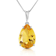 Genuine Citrine Pear Cut Gemstone Solitaire Pendant Necklace in 14K. Solid Gold