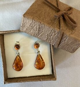 Women's 925 Sterling Silver Amber Earrings