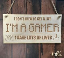 Gamer Computer Game Quote Wooden Plaque Sign Laser Engraved pq93