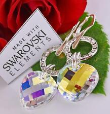 EARRINGS MADE WITH SWAROVSKI Elements TWIST CRYSTAL AB 18mm STERLING SILVER 925
