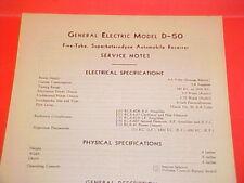 1934 1935 GENERAL ELECTRIC GE CAR AUTO RADIO SERVICE MANUAL MODEL D-50