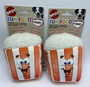 Set Of 2 Fun Food 5 inch Popcorn Plush Squeaker Dog Toys 100% Fun