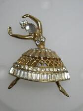 CORO CRAFT Corocraft 1950s Gold Plated Rhinestone Ballerina Dancer Brooch Pin