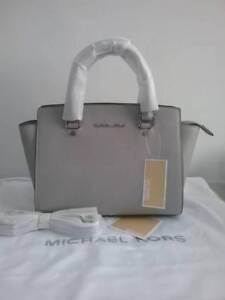 Auth Michael Kors Selma Medium Satchel Handbag Pearl Grey