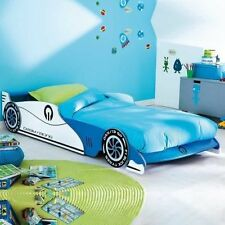 Childrens Kids Blue White Racing Car Single Bed