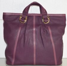 New Bvlgari NADA Large Bag Tote Calf Goat CAVIAR Leather Violet ORCHID Gold