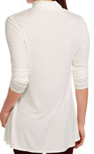 XL Womens Long Sleeve Tunic Length Turtleneck Swing Stretch Knit Top Tee White