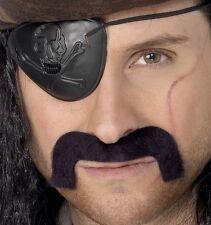 Hombre Pirata Disfraz Bigote Manillar mostacho negro NUEVO De SMIFFYS