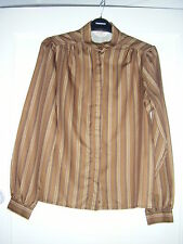 70's stripe blouse in brown/neutral tones size 12 NWOT excellent condition