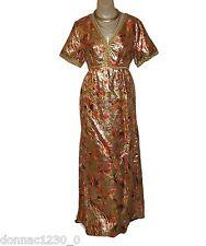 Feiner Fashions Vtg 70s Womens 14 Dress Floral Orange Gold Metallic Brocade Gown