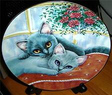 Chelsea and Charlie Purrfect Pairs GRAY CAT KITTEN SIAMESE Cat Plate