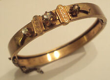 Victorian 1870-1880's Architectural Bracelet With White stones Gold-plated/ 991