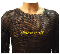 Chain Mail Round Riveted with Flat Solid Ring Shirt & Coif Black Finish XL
