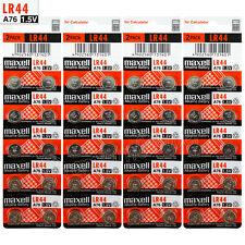 40 x Maxell LR44 Alkaline batteries 1.5V A76 AG13 303 357 L1154 SR44 Pack of 2