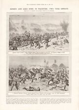 1918  ANTIQUE PRINT WW1 - AIRMEN AND COLD STEEL IN PALESTINE, TURKISH INFANTRY
