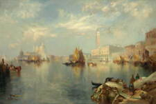 Thomas Moran Venice The Grand Canal With The Palace Poster Giclee Canvas Print