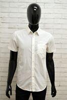 Camicia GUESS Uomo Taglia S Maglia Shirt Man Cotone Bianco Manica Corta Slim Fit