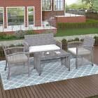 4 Pieces Rattan Patio Garden Furniture Set Outdoor Sofa Chair W/cushion Table