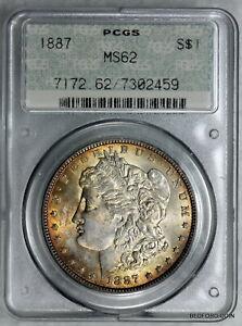 OLD DOILY LABEL GEN 2.0 PCGS MS62 1887 MORGAN SILVER DOLLAR $1    (BC59)